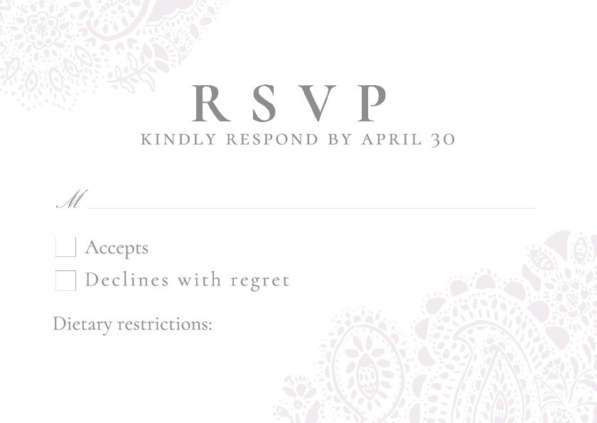 Dove Grey Paisley RSVP Card