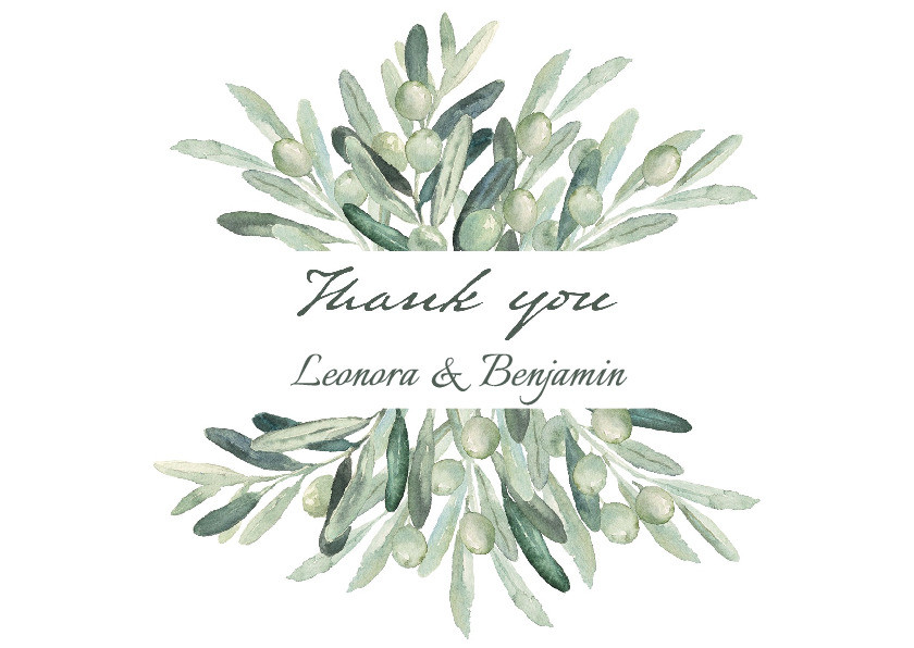 Olive Branch Folded Thank You Card