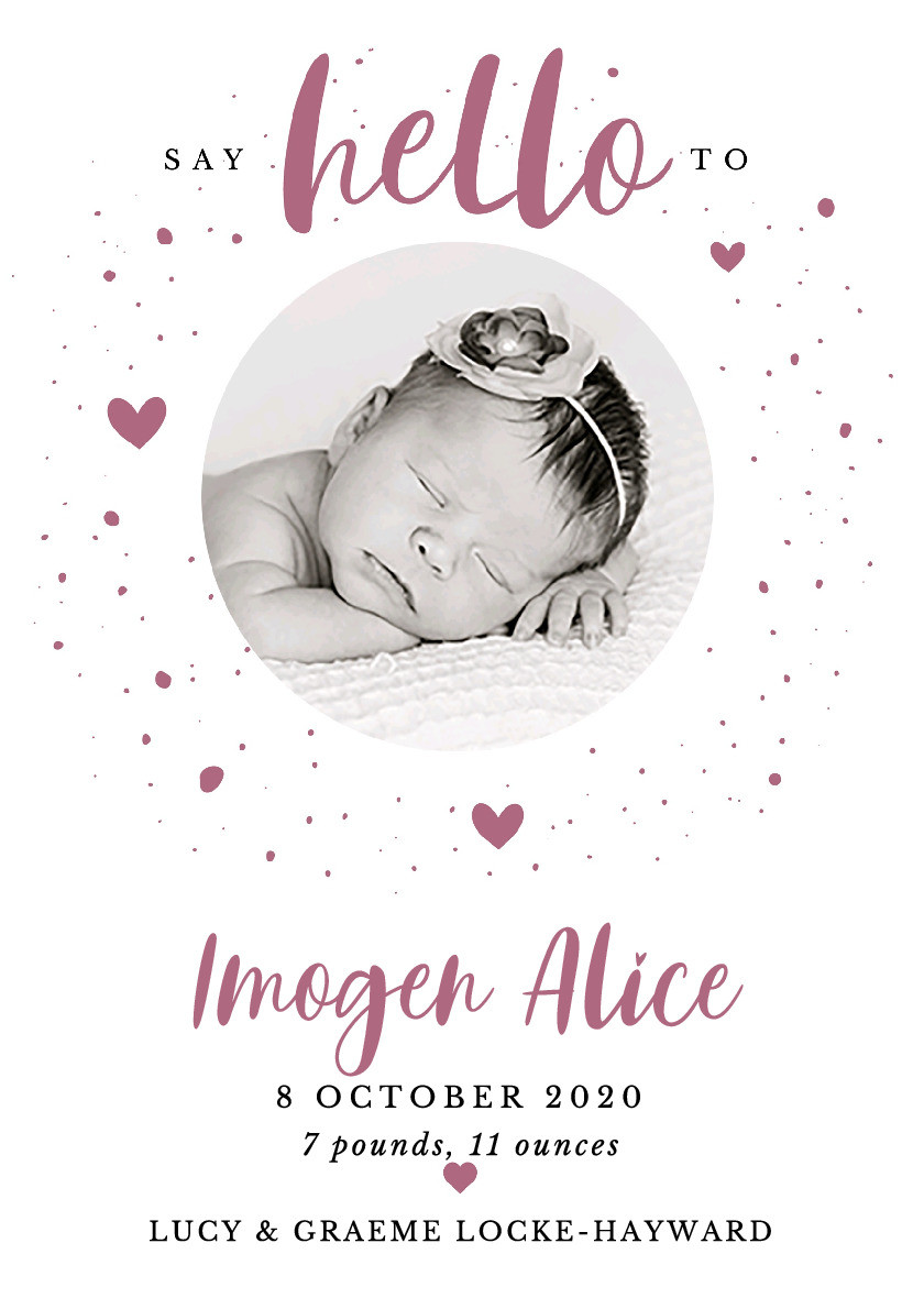 Hello My Love Birth Announcement