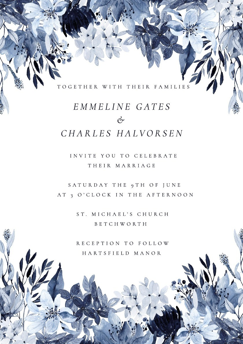 Porcelain Blue Wedding Invitation