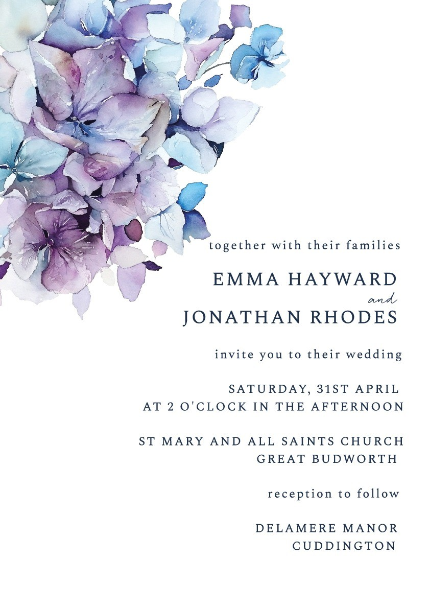 Hydrangea Bloom Wedding Invitation