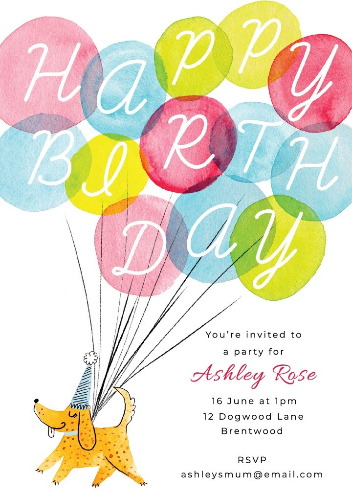 Balloon Dog Invitation