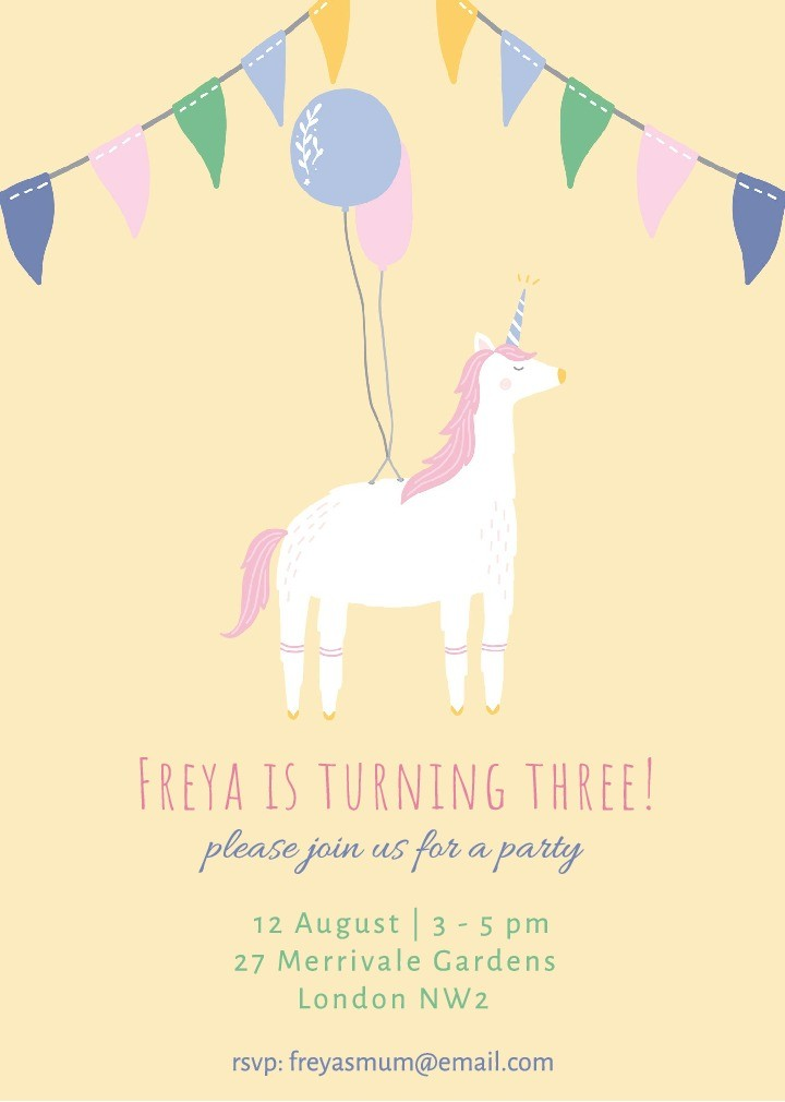 Unicorn Fun Invitation