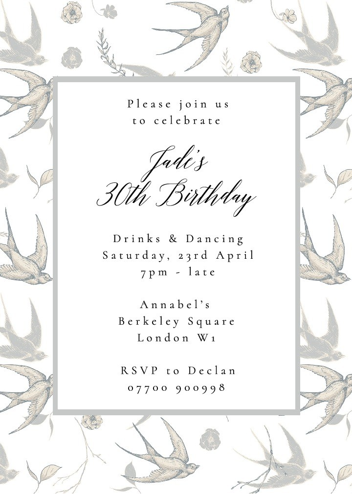 Swooping Swallows Invitation