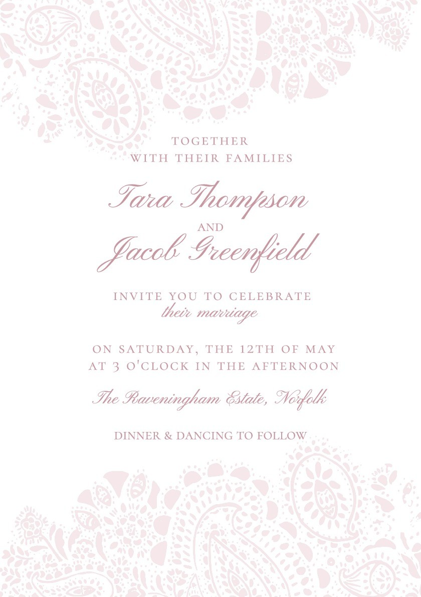 Blush Paisley Wedding Invitation