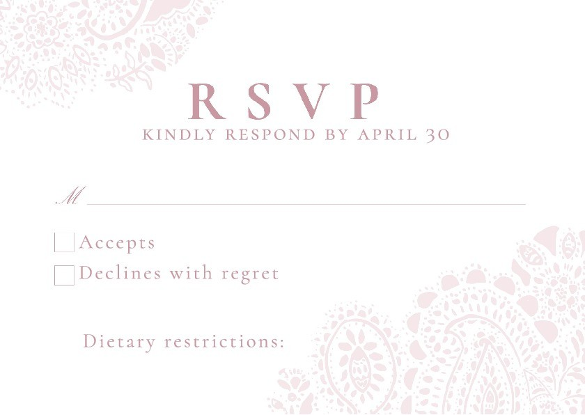 Blush Paisley RSVP Card