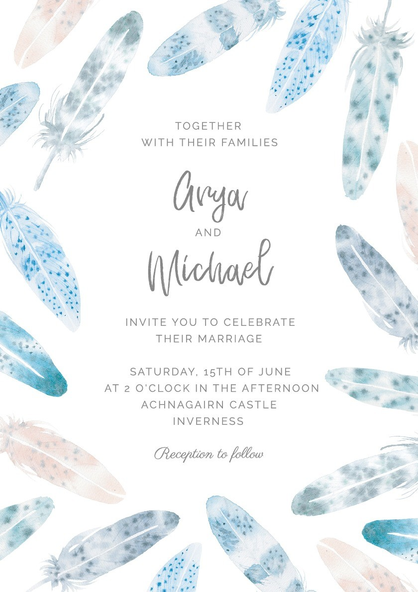 Watercolour Feathers Wedding Invitation