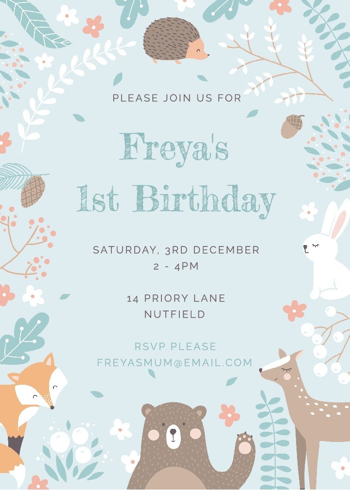 Forest Friends Birthday Invitation