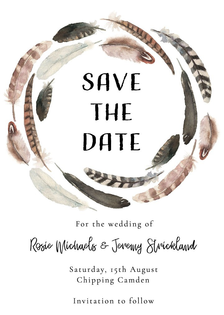 Cotswold Feathers Save the Date Card