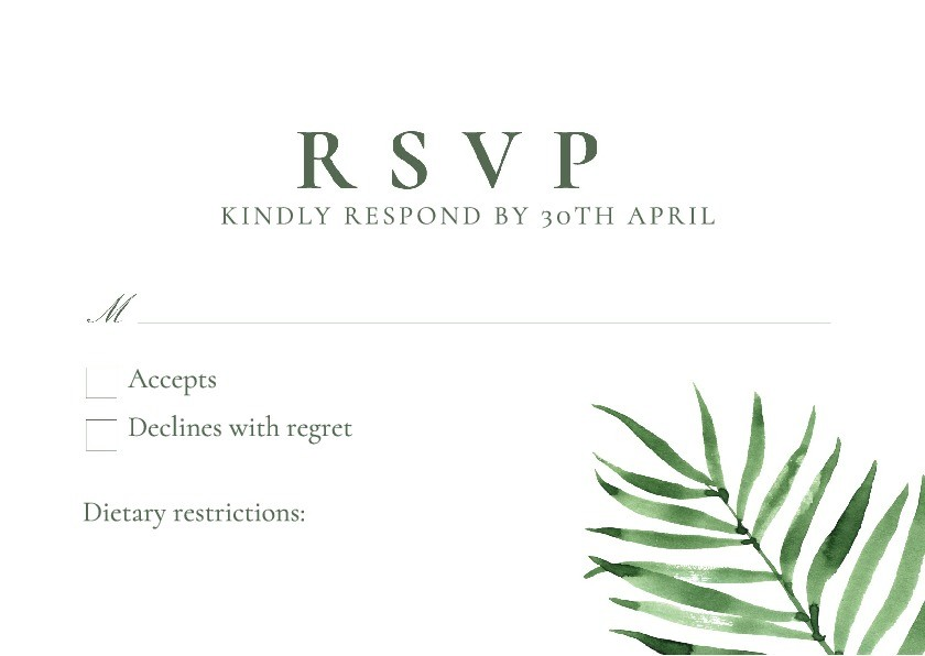 Palm Beach RSVP Card